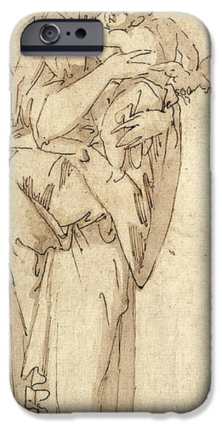 Religious Drawings iPhone Cases - Charity or the Virgin and Child iPhone Case by Geoffroy Dumonstier