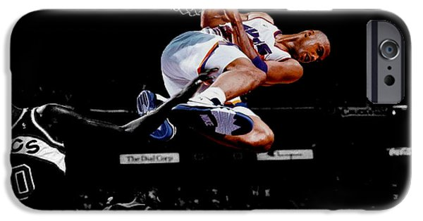 The Dream Team iPhone Cases - Charles Barkley Hanging Around iPhone Case by Brian Reaves