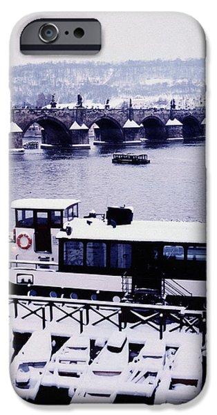 Charles Bridge Digital Art iPhone Cases - Charles Bridge in winter iPhone Case by Alexander Kurganov
