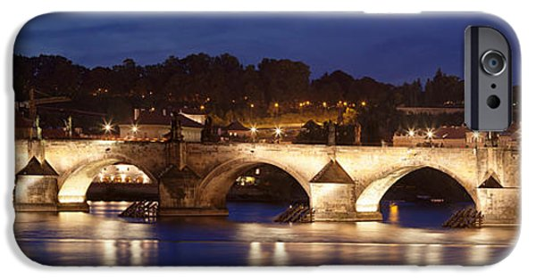 Charles River iPhone Cases - Charles Bridge Over Vitava River iPhone Case by Panoramic Images