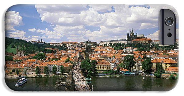 Charles River iPhone Cases - Charles Bridge Prague Czech Republic iPhone Case by Panoramic Images