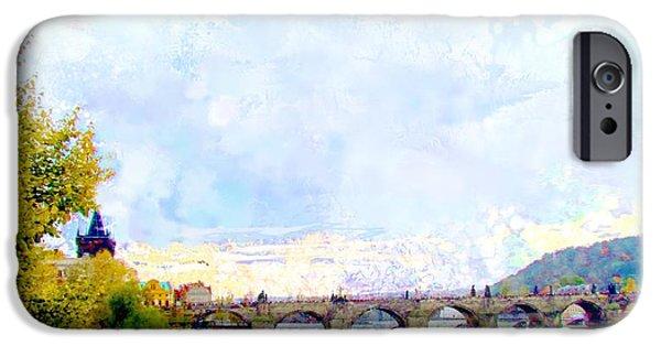 Charles Bridge Digital Art iPhone Cases - Charles Bridge Prague iPhone Case by Elaine Weiss