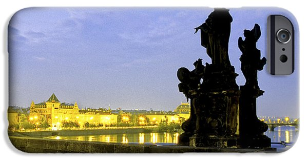 Europe Sculptures iPhone Cases - Charles Bridge Statue iPhone Case by Ryan Fox