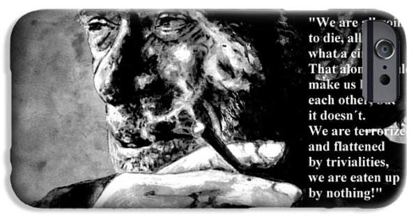 Wisdom iPhone Cases - Charles Bukowski iPhone Case by Richard Tito