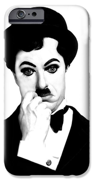 Charlot iPhone Cases - Charles Chaplin iPhone Case by Gina Dsgn