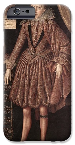 Earrings iPhone Cases - Charles I As Prince Of Wales, C.1612-13 iPhone Case by Robert, the Elder Peake