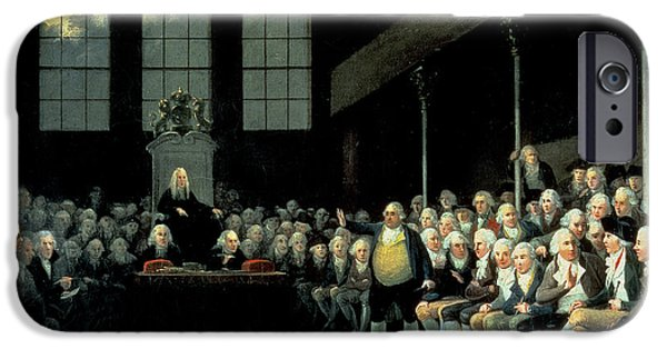 Politician iPhone Cases - Charles James Fox 1749-1806 Addressing The House Of Commons During The Pitt Ministry Oil On Canvas iPhone Case by Anton Hickel