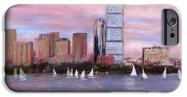 City Scape Pastels iPhone Cases - Charles River Boston iPhone Case by Jack Skinner