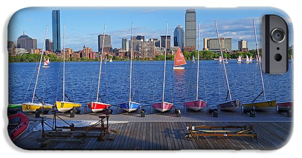 Charles River Digital Art iPhone Cases - Charles River Sailboats iPhone Case by Toby McGuire