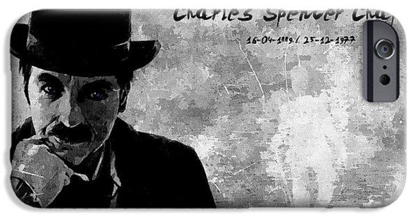 Charlie Chaplin iPhone Cases - Charles Spencer Chaplin iPhone Case by Florian Rodarte