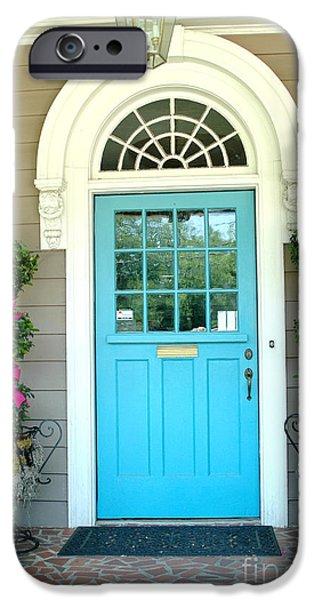 Garden Scene iPhone Cases - Charleston Aqua Teal French Quarter Doors - Charleston Aqua Blue Teal Garden Door iPhone Case by Kathy Fornal