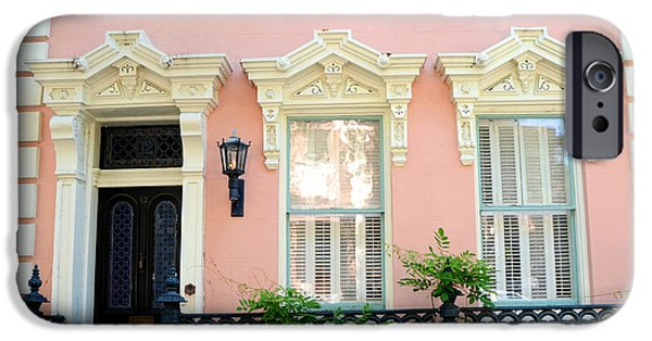 White House iPhone Cases - Charleston French Quarter District Mansion - Pink and Black French Architecture iPhone Case by Kathy Fornal