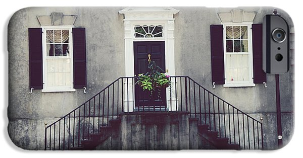 Balcony iPhone Cases - Charleston French Quarter Historial District Mansion - Charleston Black Grey White House and Lantern iPhone Case by Kathy Fornal
