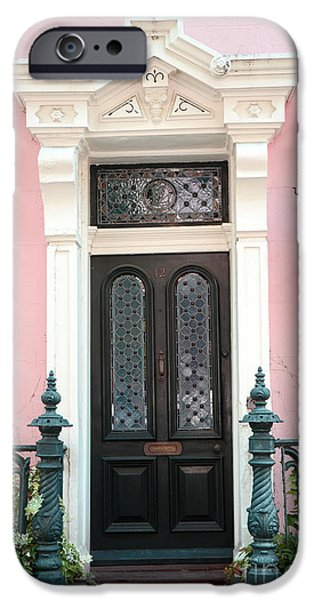 The South iPhone Cases - Charleston French Quarter Pink House - Charleston French Architecture Pink Black And White Door iPhone Case by Kathy Fornal