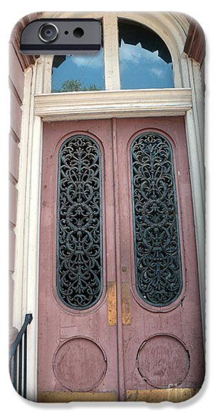 The South iPhone Cases - Charleston French Quarter Pink Ornate Door Architecture - Charleston French Quarter Ornate Door iPhone Case by Kathy Fornal