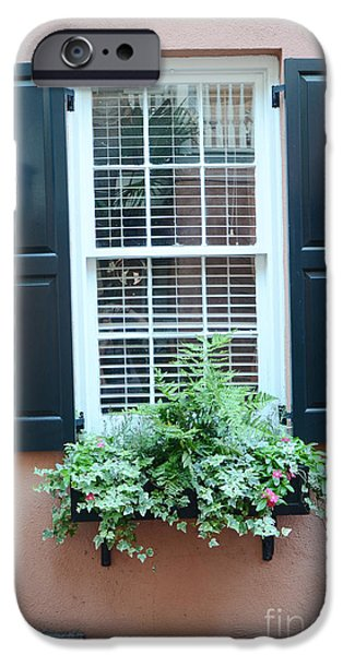 The South iPhone Cases - Charleston French Quarter Window Box and Street Lamp - Romantic Charleston Window Flower Boxes iPhone Case by Kathy Fornal