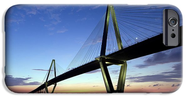 Cable iPhone Cases - Charleston Ravenel Bridge Sunset iPhone Case by Dustin K Ryan