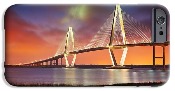 Sunset iPhone Cases - Charleston SC - Arthur Ravenel Jr. Bridge Cooper River iPhone Case by Dave Allen