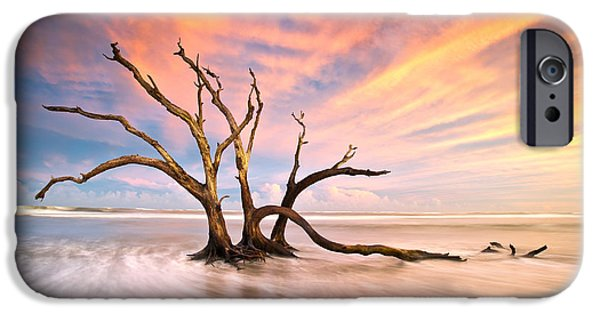 Ocean Sunset iPhone Cases - Charleston SC Sunset Folly Beach Trees - The Calm iPhone Case by Dave Allen