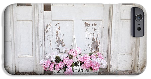 Basket iPhone Cases - Charleston Shabby Chic Vintage Cottage Old Door With Basket of Flowers iPhone Case by Kathy Fornal