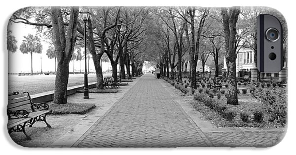 Brick iPhone Cases - Charleston Waterfront Park Walkway - Black and White iPhone Case by Carol Groenen