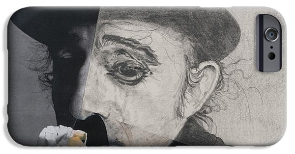 Chaplin iPhone Cases - Charlie Chaplin, 1990s, Mixed Media iPhone Case by Carolyn Hubbard-Ford