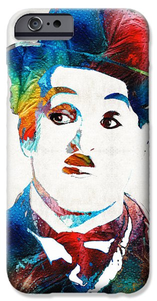 Big Screen iPhone Cases - Charlie Chaplin Art - Oh Charlie - By Sharon Cummings iPhone Case by Sharon Cummings