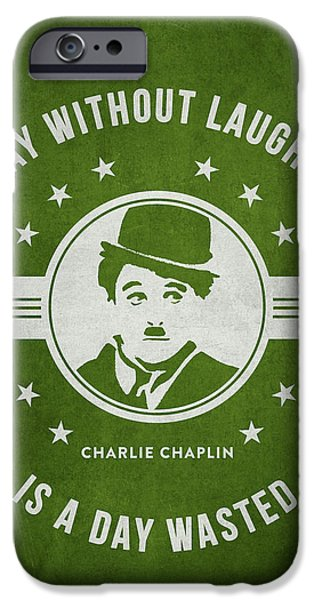 Charlie Chaplin iPhone Cases - Charlie Chaplin - Green iPhone Case by Aged Pixel