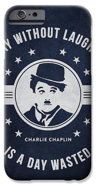 Charlie Chaplin iPhone Cases - Charlie Chaplin - navy Blue iPhone Case by Aged Pixel