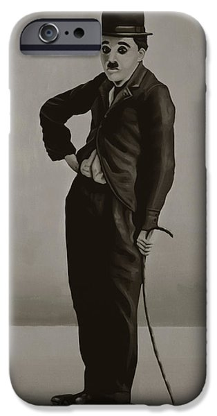 Chaplin iPhone Cases - Charlie Chaplin iPhone Case by Paul  Meijering