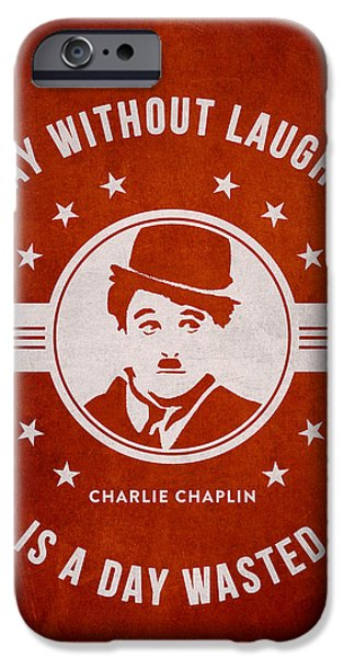 Charlie Chaplin iPhone Cases - Charlie Chaplin - Red iPhone Case by Aged Pixel