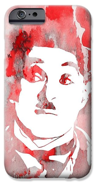 The Tramp iPhone Cases - Charlie Chaplin Red iPhone Case by Dan Sproul