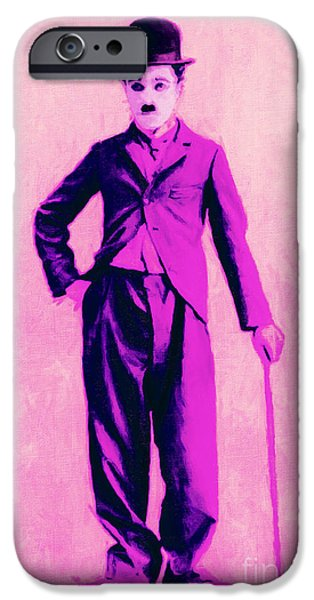 The Tramp iPhone Cases - Charlie Chaplin The Tramp 20130216 iPhone Case by Wingsdomain Art and Photography
