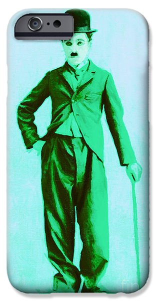 Charlie Chaplin iPhone Cases - Charlie Chaplin The Tramp 20130216m150 iPhone Case by Wingsdomain Art and Photography