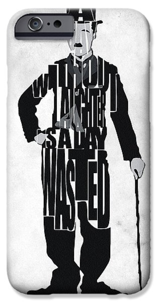 Film iPhone Cases - Charlie Chaplin Typography Poster iPhone Case by Ayse Deniz