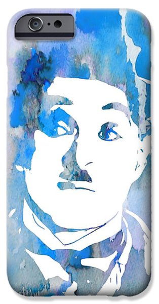The Tramp iPhone Cases - Charlie Chaplin Watercolor Blue iPhone Case by Dan Sproul