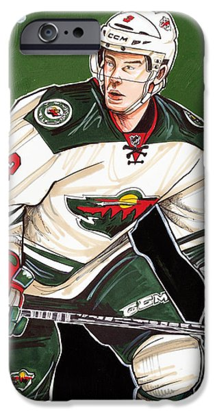 Hockey Drawings iPhone Cases - Charlie Coyle of the Minnesota Wild iPhone Case by Dave Olsen