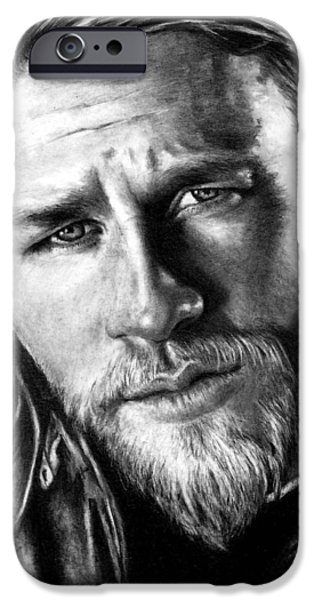 Jackson iPhone Cases - Charlie Hunnam as JAX TELLER iPhone Case by Rick Fortson