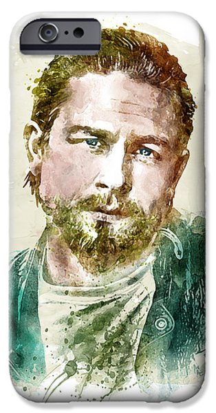 Marian iPhone Cases - Charlie Hunnam watercolor portrait iPhone Case by Marian Voicu