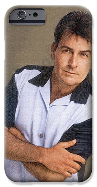 Figure iPhone Cases - Charlie Sheen iPhone Case by Dominique Amendola