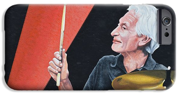 Charlie Watts iPhone Cases - Charlie Watts   Rolling Stone iPhone Case by John Houseman