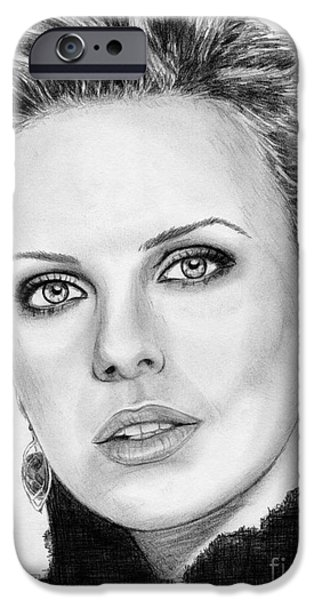 Celebrities Art iPhone Cases - Charlize Theron in 2008 iPhone Case by J McCombie
