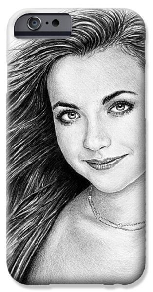 Charlotte Drawings iPhone Cases - Charlotte Church iPhone Case by Andrew Read