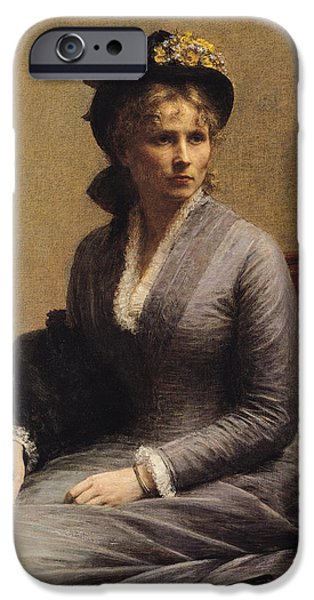 Sit-ins Paintings iPhone Cases - Charlotte Dubourg  iPhone Case by Ignace Henri Jean Fantin-Latour