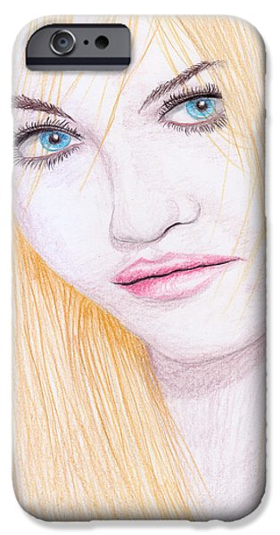 Charlotte Drawings iPhone Cases - Charlotte Free iPhone Case by Jose Valeriano