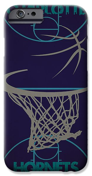 Hornets iPhone Cases - Charlotte Hornets Court iPhone Case by Joe Hamilton