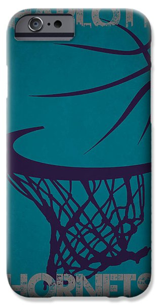 Hornet iPhone Cases - Charlotte Hornets Hoop iPhone Case by Joe Hamilton