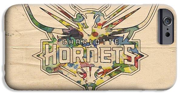 Charlotte iPhone Cases - Charlotte Hornets Logo Art iPhone Case by Florian Rodarte