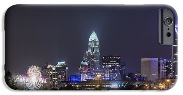 Uptown Charlotte iPhone Cases - Charlotte / Knights Fireworks iPhone Case by Brian Young