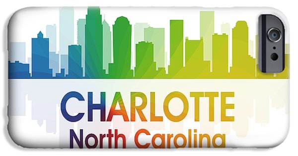 Charlotte Mixed Media iPhone Cases - Charlotte NC 1 Squared iPhone Case by Angelina Vick